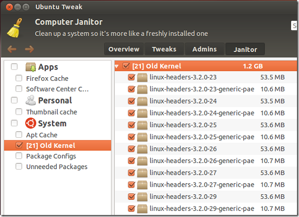 ubuntu tweak main menu