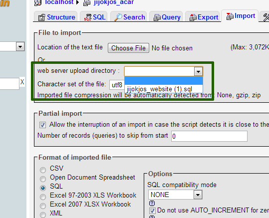 upload sql file